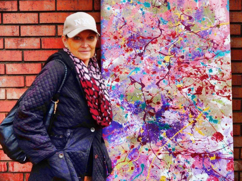 Sharon in front of Splatter Painting